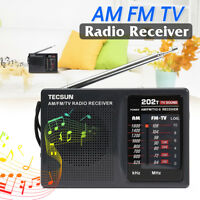 Portable TECSUN R-202T AM FM TV Sound Battery Powered World Band Radio Receiver