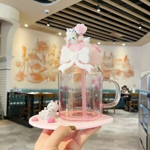 Starbucks Pink Sakura Cat Straw Cups W/ Coaster&Cat Paw Topper Water Bottle Gift