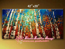 P1250 Textured Oil Birch Trees Oil Painting on canvas Palette knife /NO Frame