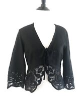 Talbots Collection Eyelet Linen Cardigan Size 6 Black Embroidered Crop Shrug N8