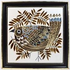 More details for vintage maw & co framed majolica tile 1960s stylized bird mid century modern