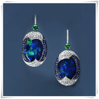 925 Silver Arrival Real Blue Opal Sapphire Woman Ear Hook Hoop Earrings Wedding