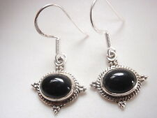 Black Onyx Highlighted w Rope Style Accents 925 Sterling Silver Dangle Earrings