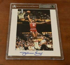 JULIUS IRVING Signed 8.75x12 Inch Encapsulated Photo-Philadelphia 76ers-Beckett