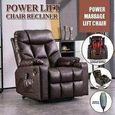 Brown Auto Electric Power Lift Massage Chair Leather Recliner Heat Usb w/Wheels