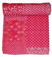 Pink Floral Patchwork Kantha Quilt Bedding Blanket Handmade King Size Throw