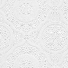 Lacy Ornate Medallions Victorian Paintable Wallpaper  48932  per Double Roll