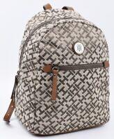 TOMMY HILFIGER Women's Small Monogram Fabric Backpack, Khaki