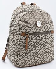 TOMMY HILFIGER Women's Small Monogram Fabric Backpack, Khaki