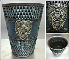 Police Officer Badge Bath Bathroom Waste Basket Trash Can Garbage Hand Painted 00004000