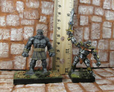 2 Painted Golem Figures Metal and Stone Reaper Miniature Free US Shipping
