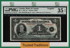TT PK BC-1 1935 CANADA BANK OF CANADA ENGLISH $1 KING GEORGE V PMG 35 EPQ CHOICE