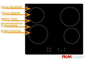 PKM Glaskeramik Kochfeld autark rahmenlos Touch Control Timer Ceran KF4X