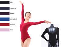 Quality Adult Women's Long Sleeve Black Blue Professional Dance Leotard Camisole