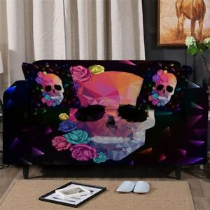 Geometric Skull Rose Sofa Couch Chair Cushion Stretch Cover Slipcover Set Decor
