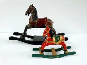 Antique Wooden Rocking Horses Hand Carved and Hand Painted Toy Set of 2