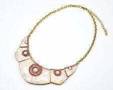 CC899 * Collier Plastron Pointu Motif Fleurs Pierres Strass Mode Femme - Rose