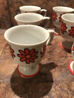 Japan Orange Daisy Flowers Pedestal Coffee Cup Set Of 6 RARE Vintage 60's 70's