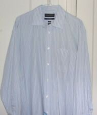 Kenneth Roberts Mens 17 32/33 Platinum 80's 2 Ply Cotton Button Front Long Sleev