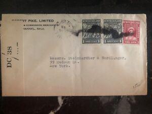 1943 Newfoundland Military Censored Commercial Cover To New York USA