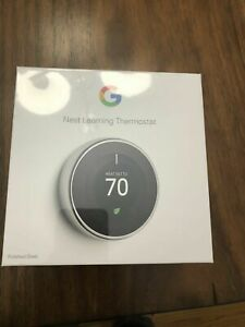 Factory Sealed! Google T3019US Nest 3rd Gen. Learning Thermostat Polished Steel