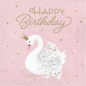 16 x Pink & Gold Stylish Swan Party Paper Napkins Girls Happy Birthday Tableware