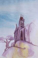 Hilltop Ruin - ACEO Art PRINT from original watercolor painting by dcurtis SFA