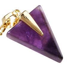 Amethyst Gemstone Triangle Healing Chakra Stone Golden Pendant Bead Fit Necklace