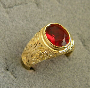 Men's Oval Red Ruby CZ Yellow Gold Plated Ring Size 10 July Birthstone New