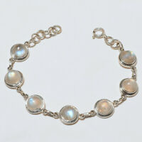 """925 Solid Sterling Silver Charming Best Quality Moon Stone Bracelet """"7.00"""""""