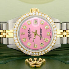 Rolex Datejust Ladies 2-Tone Gold/Steel 26mm Watch w/Pink Dial & Diamond Bezel