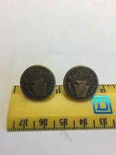2 Keystone Trade Mark Overall Work Clothes Button Vintage Wobble Shank