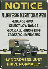landrovers Just DRIVE Normalmente Letrero Metal, Land Rover Gracioso Señal 4x4