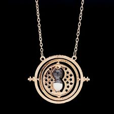 Gold Time Turner Hermione Granger Harry Potter Rotating Spins Hourglass Necklace