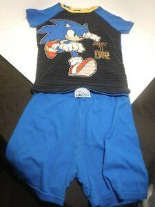2 Piece Boys Snug Fit Sonic The Hedgehog Blue Yellow Pajama Shorts Set 10