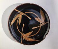 Studio Hand Made Pottery Art Ceramic Stoneware Bamboo Plate signed Diane Hawaii