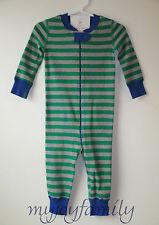 HANNA ANDERSSON Baby Organic Zip Sleeper Go Green Grey Stripe 60 6-9 months NWT