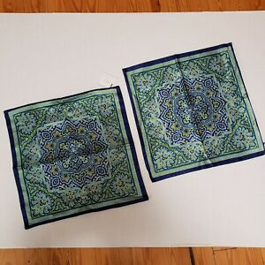 "2 Pottery Barn Silk Cotton Pillow Case Cover Paisley Square  18"" x 18"" Blue"