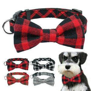 Cotton Dog Collar Tartan Plaid Bow Tie Adjustable Pet Puppy Cat Scarf Collars