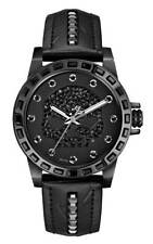 Harley-Davidson Women's Willie G Skull Crystal Watch, Studs Leather Strap 78L126