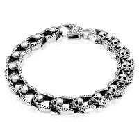 Totenkopf Armband Schädel Knochen 925 Sterling Silber Geschwärzt Oxidiert Herren