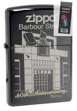 Zippo 28790 60th anniversary barbour street ebony windproof Lighter + FLINT PACK