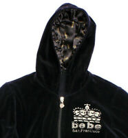 bebe Logo San Francisco Black Velour Zip Hoodie with Crystals and Gold Stitching
