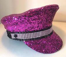 Glamorous Pink Sequin Festival Military Captain's Hat Glastonbury. Gay Pride.