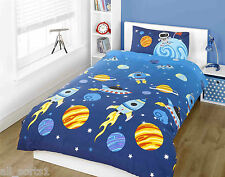 SINGLE BED DUVET COVER SET SCIENCE ROCKETS SPACE SHIPS PLANET BLUE UNIVERSE STAR
