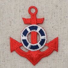 Iron On Embroidered Applique Patch NAUTICAL Red Anchor Blue/White Life Preserver