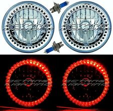 "7"" Halogen Red Split LED Halo Ring Angel Eye Headlight Headlamp Light Bulbs Pair"