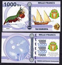 RARE ★ ILE EUROPA ● TAAF / COLONIE ● BILLET POLYMER 1000 FRANCS ★ N.SERIE 000007