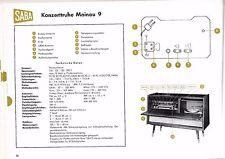 Service Manual-Anleitung Saba Konzerttruhe Mainau 9,Mainau 90, Baujahr 1958/59