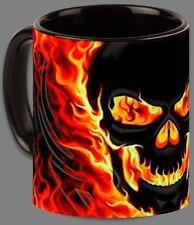Black Flames Skull Mug